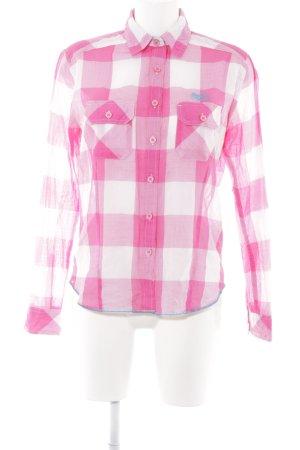 Superdry Karobluse weiß-pink Karomuster klassischer Stil