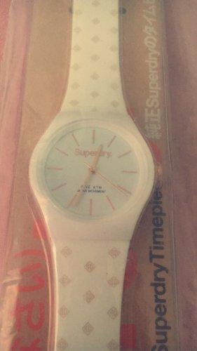 Superdry Horloge met lederen riempje wit-roségoud