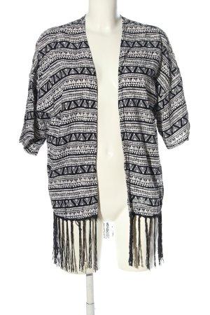 Superdry Kimono schwarz-weiß abstraktes Muster Casual-Look