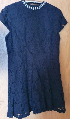 Superdry Kleid mini Spitze Perlen Kragen Stickerei blau kurzarm L