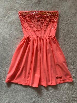 Superdry Kleid S 36 koralle Pailletten Sommerkleid pastell neon