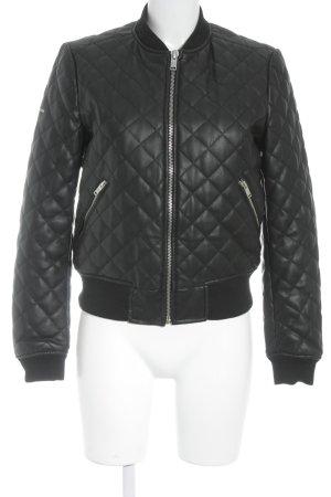 Superdry Kunstlederjacke schwarz-silberfarben Steppmuster minimalistischer Stil