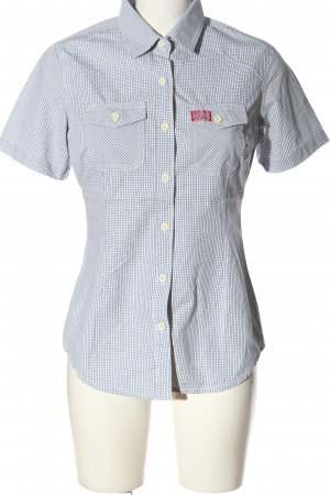 Superdry Short Sleeve Shirt white-black check pattern casual look