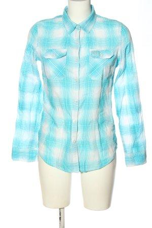 Superdry Langarmhemd blau-weiß Karomuster Casual-Look