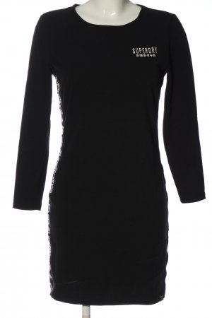 Superdry Langarmkleid schwarz-weiß Motivdruck Casual-Look