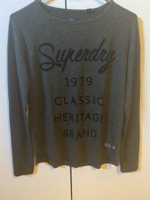 Superdry Lang shirt zwart-khaki Katoen