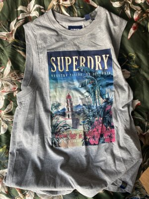 Superdry Muscleshirt lichtgrijs-grijs