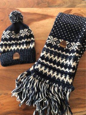 Superdry Bonnet bleu foncé-blanc cassé