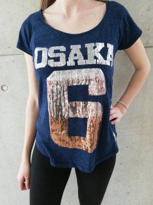 superdry Osaka T-Shirt Gr. S dunkelblau gold