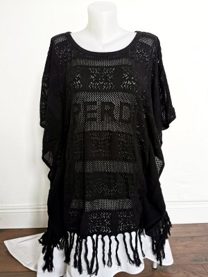 SUPER DRY Knitted Poncho black