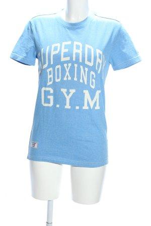 Superdry Print-Shirt blau-weiß Motivdruck Casual-Look