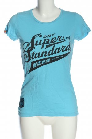 Superdry Print-Shirt blau-schwarz Motivdruck Casual-Look