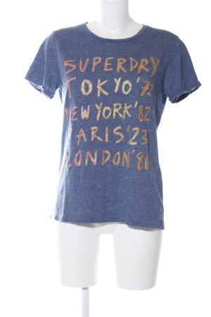 Superdry Print-Shirt blau-goldfarben meliert Casual-Look