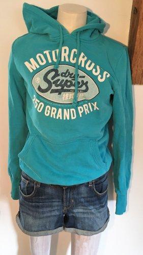 SUPER DRY Capuchon sweater turkoois Katoen