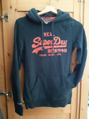 SUPER DRY Sweter z kapturem pomarańczowy-ciemnoniebieski