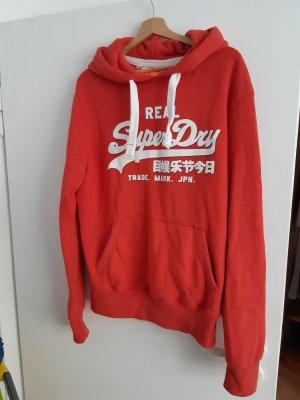 SUPER DRY Sweter z kapturem w kolorze białej wełny-ciemny pomarańcz