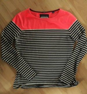 SUPERDRY pullover COLOUR BLOCK BRETTON MARINE / WEISS KORALLENROT LANGARMSHIRT S 36
