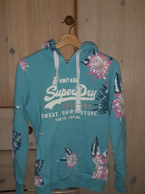 Superdry Pull à capuche turquoise