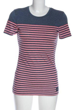 Superdry Ringelshirt blau-pink meliert Casual-Look