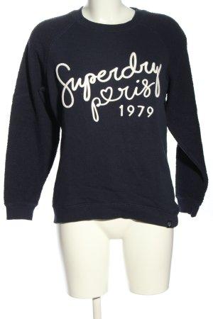 Superdry Rundhalspullover blau-weiß Schriftzug gedruckt Casual-Look