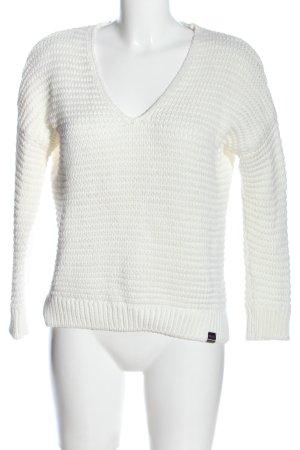 Superdry V-Ausschnitt-Pullover weiß Webmuster Casual-Look