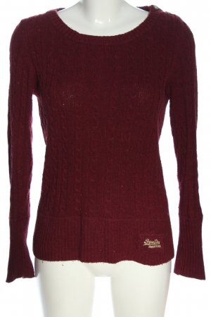 Superdry Rundhalspullover rot Zopfmuster Casual-Look