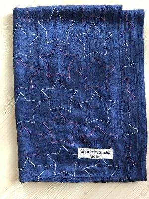 Superdry Schal Tuch blau Sterne weiß rot riesig