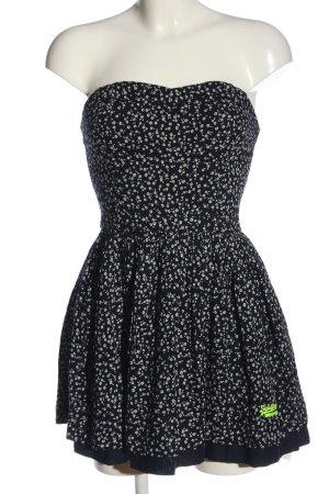 Superdry schulterfreies Kleid schwarz-weiß Allover-Druck Casual-Look