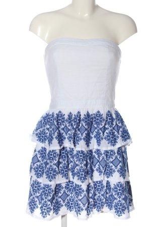 Superdry schulterfreies Kleid weiß-blau grafisches Muster Casual-Look