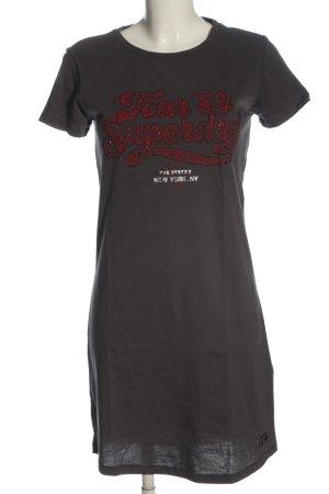 Superdry Shirtkleid hellgrau-rot Schriftzug gedruckt Casual-Look