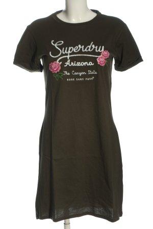 Superdry Shirtkleid khaki-weiß Schriftzug gedruckt Elegant
