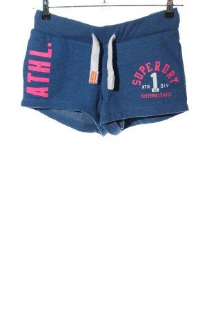 Superdry Shorts blau-pink Schriftzug gedruckt sportlicher Stil