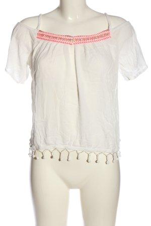 Superdry Kurzarm-Bluse weiß-pink Casual-Look