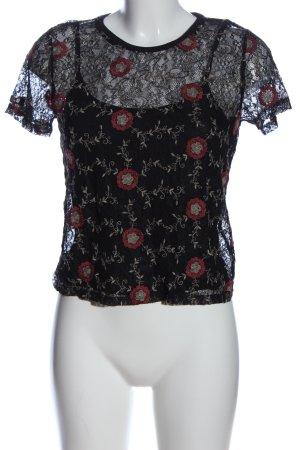 Superdry Blusa de encaje negro-rojo estampado floral estilo fiesta