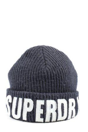 Superdry Strickmütze schwarz Flechtdetails