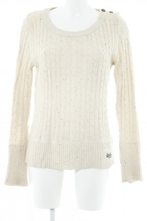 Superdry Strickpullover creme Zopfmuster Casual-Look