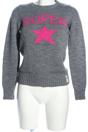 Superdry Strickpullover hellgrau-pink meliert Casual-Look