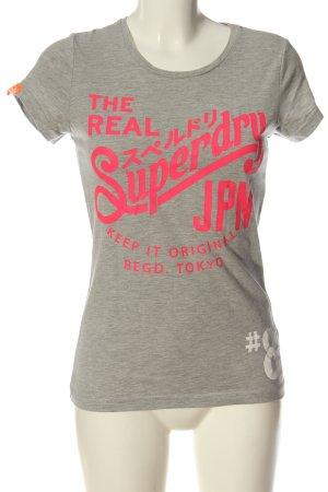 Superdry Camicia maglia grigio chiaro-rosa puntinato stile casual