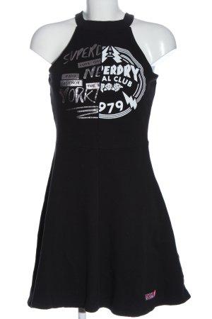 Superdry Sweatkleid schwarz Schriftzug gedruckt Casual-Look