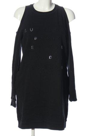 Superdry Vestido de tela de sudadera negro letras impresas look casual