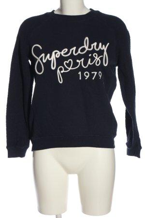Superdry Sweatshirt blau-weiß Schriftzug gedruckt Casual-Look