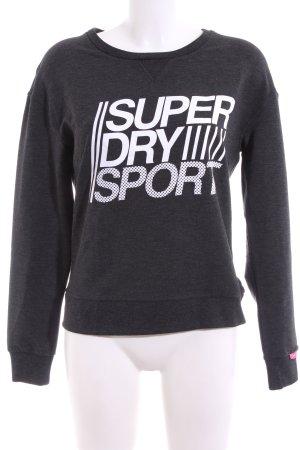 Superdry Sweatshirt hellgrau-weiß Schriftzug gedruckt Casual-Look
