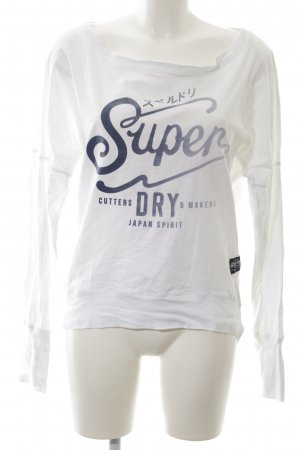 Superdry Sweatshirt weiß-blau Schriftzug gedruckt Casual-Look