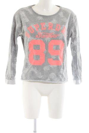 Superdry Sweatshirt hellgrau-pink Allover-Druck Casual-Look