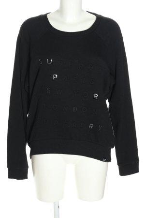 Superdry Sweatshirt schwarz Schriftzug gedruckt Casual-Look