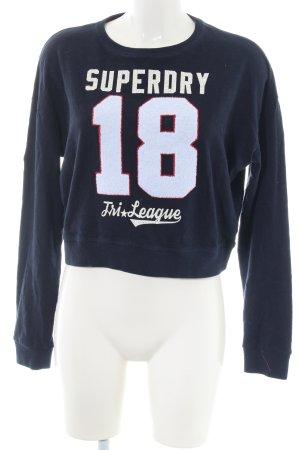 Superdry Sweatshirt blau-wollweiß Schriftzug gedruckt Casual-Look