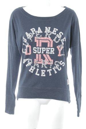 Superdry Sweatshirt dunkelblau Schriftzug gedruckt Casual-Look