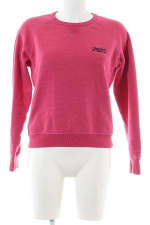 Superdry Sweatshirt pink-schwarz Schriftzug gestickt Casual-Look