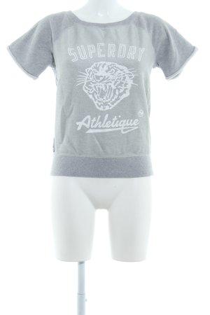 Superdry Sweatshirt hellgrau Schriftzug gedruckt sportlicher Stil