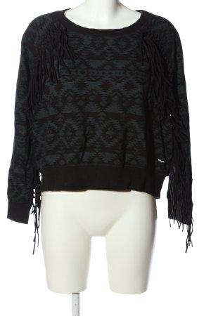 Superdry Sweatshirt schwarz-türkis grafisches Muster Casual-Look